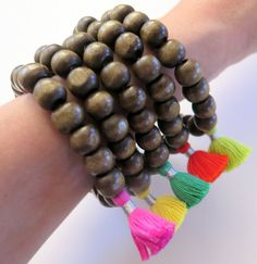 Tassel Mala Bracelets  Wood Bead Stretch by ZardeniaJewelry