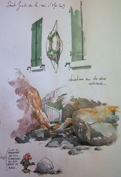 Une Bretagne par les contours/St-Jacut-De-La-Mer Voyage Sketchbook, Art Sketchbook, Watercolor Journal, Watercolor Art, Art Journal Prompts, Journals, City By The Sea, Memory Journal, Urban Sketchers