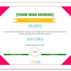 Looking for free Printable High School Diploma Template? ✅ These diploma templates are free to use & can be edited online. Free High School Diploma, High Diploma, Certificate, Dips, Colorful, Projects, Art, Log Projects, Art Background