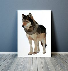 Colorful decor for your home and office. Beautiful wolf art. Animal print. Lovely polygonal poster. Available in two sizes: A4 (8.2x11) and A3