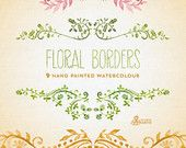 Floral Borders Watercolour. 9 Digital Clipart. Hand painted, wedding elements, flowers, invitation diy, frames, embellishment, ornamental.