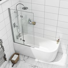 Orchard Elsdon left handed J shaped single ended shower bath with screen and bath mixer tap pack Bath Shower Screens, Shower Rail, Bath Front Panel, Bath Mixer Taps, Wall Mounted Taps, Rental Bathroom, Bathrooms, Double Bath, Corner Bath