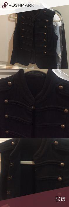 Black cotton vest Black vest in size small with button details. 100% cotton. Never worn. Jackets & Coats Vests