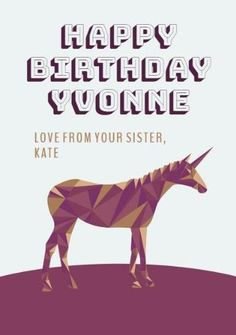 A modern birthday card with an illustration of a unicorn in purple and gold, and a light grey background. Unicorn Cards, Happy Birthday Cards, Gray Background, Purple, Grey, Illustration, Modern, Happy Birthday Greeting Cards, Gray