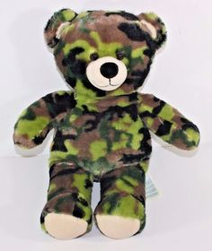 "17"" Plush Green Camo Bear From Build a Bear Workshop Stuffed Animal Army Hunting"