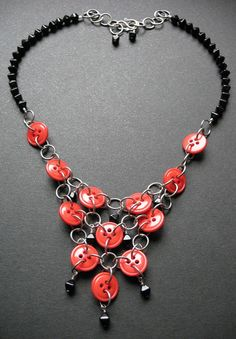 tangled and wild retro red button necklace with by edithandlulu