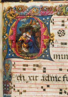 Natività - Antifonario - Girolamo da Cremona (XV sec.) - Libreria Piccolomini, Duomo di Siena