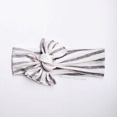 Stripe head wrap white heather gray wide by Bloombyhaleyanne