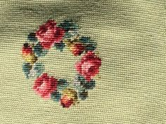 Vintage Needlepoint Chair Cushion Cover Child's Chair