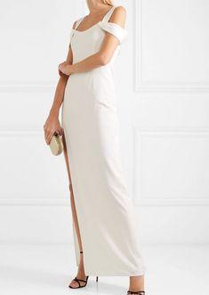 Halston Heritage - Cold-shoulder Crepe Gown - White at Wedding Dresses Under 500, Informal Wedding Dresses, Amazing Wedding Dress, Formal Dresses, Dress Wedding, Halston Heritage, Wedding Hairstyles Half Up Half Down, Older Bride, White Gowns