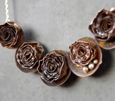 Copper and Sterling Silver Bed of Roses statement by NestedYellow, $325.00