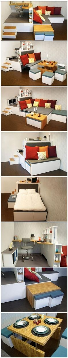 An all-in-one set up for lofts or studio apartments. The bed is hidden in plan sight, dining table + storage stools tuck away beneath office platform.