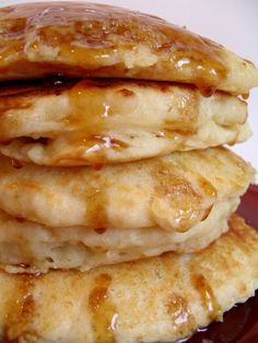 buttermilk pancakes... new fav pancake recipe!!! Added 3/4 cup oats & vanilla sugar topped with honey fried bananas!