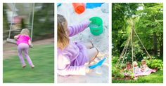 How to set up a kid friendly backyard to encourage active outdoor play. Includes elements to consider, such as sand & water play, privacy, toys, and plants.
