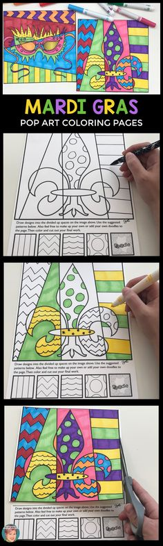 Teachers love interactive coloring pages to use for Mardi Gras because each one will be individual - just like the student that created it. Students get to do all the thinking, designing and creating of these pages. Included are questions and answers about Mardi Gras - making it easy to integrate this art project into your classroom learning ! #mardigrasactivities #mardigrasactivity
