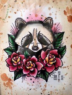 raccoon old school