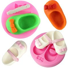 3D Cute Baby Shoes Bow Silicone Cake Molds Gum Paste Chocolate Fimo Clay Candy Mold Fondant Cake Decorating Tools CT518