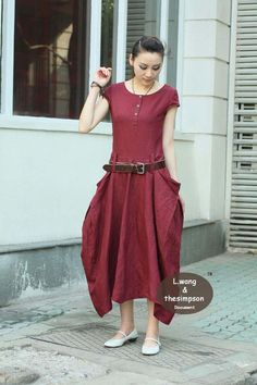 Wine red linen short sleeve dress(more colour and size choice)-B17. $63.00, via Etsy.