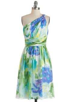 The Beauty of Brushstrokes Dress - Multi, Floral, Daytime Party, Empire, One Shoulder, Spring, Ruching