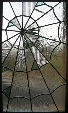 We love stained glass. spider web looking stained glass! Someday i'm gonna make stained glass for my doors and windows and it's going to look something like this! Stained Glass Art, Stained Glass Windows, Mosaic Glass, Leaded Glass, Window Glass, Beveled Glass, Glass Door, Tiffany Kunst, Casa Rock