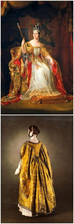 Above: Cropped version of the State Portrait of Queen Victoria, painted by Sir George Hayter, c. 1838-40, oil on canvas. Royal Collection Trust/© Her Majesty Queen Elizabeth II 2016. Victoria is depicted as she was at her coronation in Westminster Abbey on June 28, 1838. She wears a supertunica (a garment of gold tissue edged with gold lace, with loose open sleeves), under her dalmatica. Below: Supertunica worn by Queen Victoria for her coronation, from In Royal Fashion, by Kay Staniland.