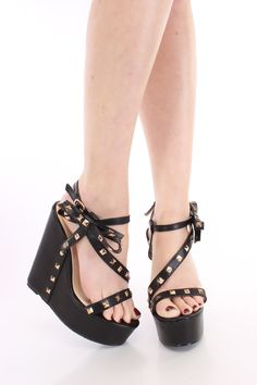 Black Studded Strappy Wedges Faux Leather