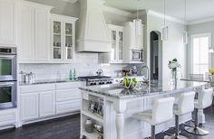 grey granite Countertops | - kitchens - white cabinets, wood floors, gray granite countertops ...