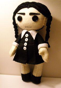 Felt Wednesday Addams inspired custom plush stuffed rag doll toy. Via ETSY
