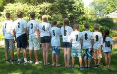 Great for a family reunion!  All the grandchildren with their number of birth order on the back of their t-shirts.  Mine are 8 and 10.