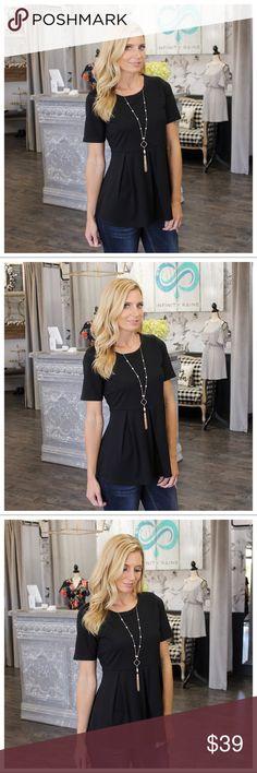 a9ec251745ec Black Short Sleeve Peplum Style Tunic Modeling size small