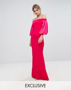 Get this Tfnc's long dress now! Click for more details. Worldwide shipping. TFNC Off Shoulder Fishtail Maxi Dress With Blouson Sleeve - Pink: Maxi dress by TFNC, Woven fabric, Off-shoulder neck, Blouson sleeves, Fishtail hem, Zip-back closure, Slim fit - cut close to the body, Machine wash, 100% Polyester, Our model wears a UK 8/EU 36/US 4 and is 170 cm/5'7� tall, Exclusive to ASOS. London label TFNC is renowned for its standout occasionwear. Step it up in sparkly fabrics, embellished…