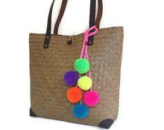 Pom pom bag charm Tassel bag charm Neon by PearlAndShineJewelry Pom Pom Purse, Pom Pom Bag Charm, Wool Dolls, Ethnic Bag, Pom Pom Crafts, Jute Bags, Original Gifts, Straw Bag, Bag Accessories