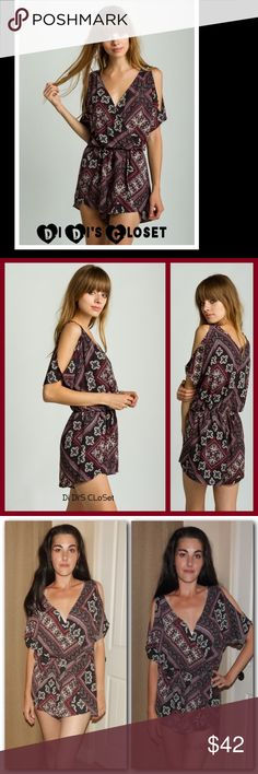 """SALE⚡️Tribal Printed Romper Gorgeous Tribal printed romper. Fits beautifully and perfect for summer. ⭐️100% Polyester ⭐️Surplice Neckline ⭐️Elastic Waist ⭐️Cut Out Shoulders Trades/PayPal or Mercari *️⃣Price Firm Unless Bundled  *️⃣(If """"applicable""""this item includes sales tax reimbursement computed to the nearest  mil') Shorts"""