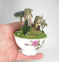 Very Cute Fairy Houses on A Terraced Hilltop Scene in A Cup OOAK O'Dare | eBay