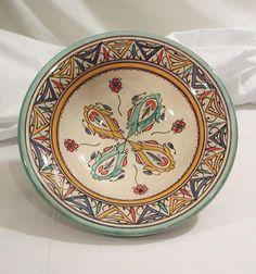 Vintage plato marroquí por Hourabi Safi - mano pintado plato de Marruecos
