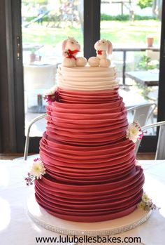 Ombre Red Ruffle Wedding cake - Cake by Lulubelle's Bakes