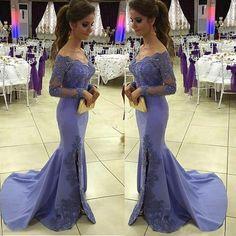 Women's 2017 Lavender Long Sleeve V-Neck Evening Dresses