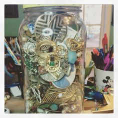 Just your average day sorting through a pickle jar of old jewelry treasures. #upcycling #thrifted #vintage #picklejar #oldjewelry #jewelrydesign #jewelrysupplies #jewelrymaking #jewelryartist