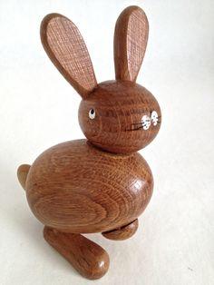 Vintage Wooden Rabbit, Mid Century Teak, Danish Modern Style,