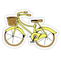 """""""Fahrrad gelb"""" Aufkleber von Noah Denten You are in the right place about Laptops Here we offer you Stickers Cool, Red Bubble Stickers, Tumblr Stickers, Phone Stickers, Journal Stickers, Printable Stickers, Preppy Stickers, Vintage Sticker, Tumblr Yellow"""