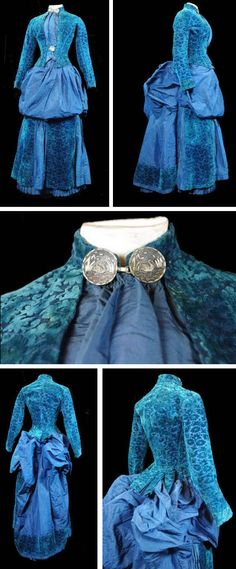 Day dress, 1884. Taffeta and velvet. Bodice decorated with large silver-colored buttons with a swan motif. This typical fashion of the year 1884 toilet features a deck of form bag on the front and a large pouf in the back. Via Modes et Parures.
