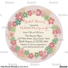 Pink Floral Wreath Invitation