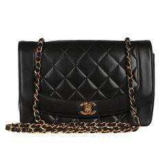 e9c07126f855 Chanel Classic Flap Diana 25 6876 Black Lambskin Leather Cross Body Bag