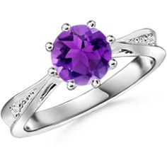 A Guide to Buying Customize Tapered Shank Ring With Amethyst in 14k White Gold Mother Rings