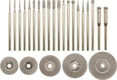 Dremel Diamond Coated Disks - Diamond bits have a diamond grit coating. For use with Dremel Type Rotary Tools. Dremel and Compare to Dremel items including Dremel 545 Dremel Bits, Dremel Rotary Tool, Dremel Tool Accessories, Jewelry Tools, Jewelry Making, Dremel Carving, Carving Tools, Dremel Tool Projects, Tools And Toys