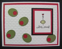 I am using another image from this Best of series from Stampin'Up!s 25 years!  My card base is Very Vanilla with layers of Basic Black and Real Red.  I punched the Itty Bitty shapes circle punch FIRST, then overpunched (new word?) with the Small Oval punch #120908.  Then I also punched another Real Red oval to place BEHIND the Old Olive.  It makes it much easier to adhere the pieces together.