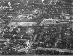 Looking east from the air at the Georgia Tech campus and Grant Field, home of the Yellow Jackets, circa 1930s. #gojackets (image courtesy of the Georgia State University Archives, via atlantatimemachine.com)