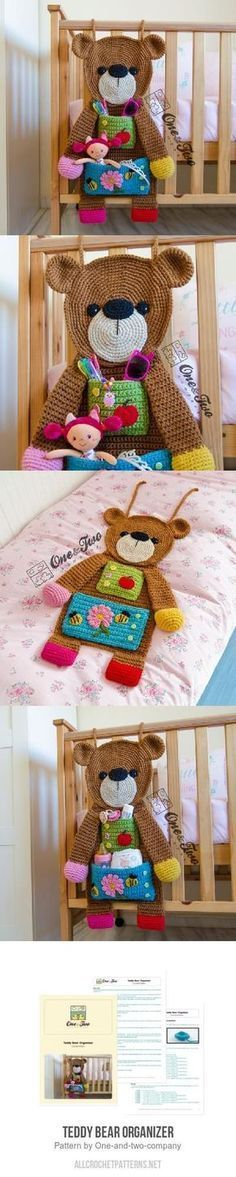 Teddy Bear Organizer Häkelanleitung von One and Two Company - Diy Hakeln Crochet Bear, Crochet Home, Crochet Animals, Crochet For Kids, Crochet Dolls, Crochet Teddy, Loom Knitting, Baby Knitting, Knitting Projects