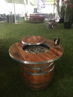 Design and your own custom wine barrel fire pit. Wine Barrel Fire Pit, Wine Barrel Table, Wine Barrel Furniture, Gas Fire Pit Table, Wine Barrels, Rustic Furniture, Outdoor Furniture, Barrel Projects, Wood Projects