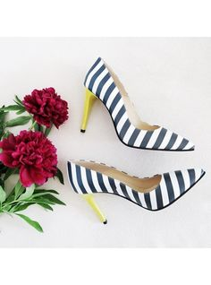 Pantofi Print (Grace Collection)    Stiletto shoes with stripes, colorful, Pantofica.ro